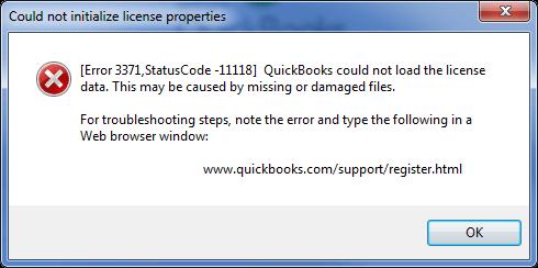 QuickBooks Error 3371, Status Code 11118